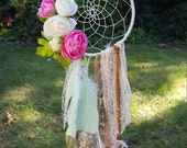 Pink + Mint Dream Catcher with Faux Flowers + Gold Glittered Feathers // MADE TO ORDER