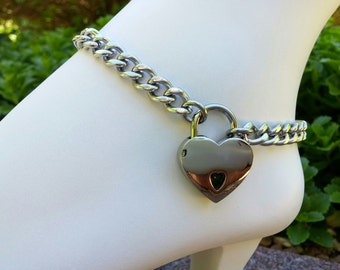 Stainless Steel BDSM Locking Anklet with Heart Shaped Padlock, Slave Anklet