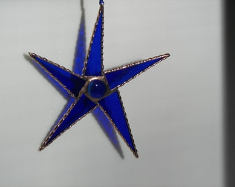 Stained Glass Star Blue, Five Point Star Blue, Blue Star Suncatcher,Blue Stained Glass Star