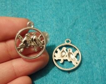 10 love bird charms pendants tibet tibetan silver antique jewellery making wholesale UK craft