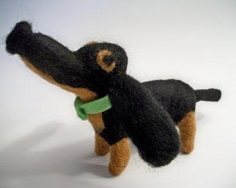 Needle Felt Dog, Handmade Wool Dog, Cartoon Dog, Black Dachshund, FeltWithAHeart