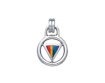 Rainbow Encircled Triangle Pendant