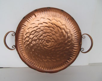 Gregorian  Copper Tray  12 3/8'' round - Serving - Display Tray with handles  Vintage