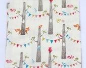 Gender Neutral Baby Gift, Woodland Swaddle Blanket, Organic Receiving Blanket, Muslin Swaddle Blanket, Fox, Owl, Bird, Trees and Bunting