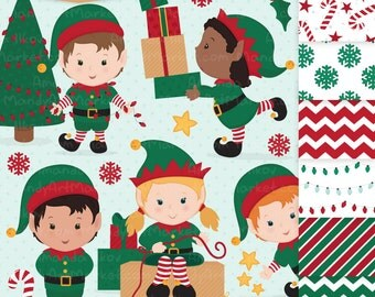 Cute Christmas Elves & Christmas Patterns - Elf Clipart, Elf Vectors, Clipart Elves, Vector Elves, Christmas Clipart, Christmas Papers