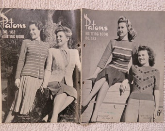 Vintage 1940s / 1950s  knitting pattern book - Patons No. 182 - women's sweaters