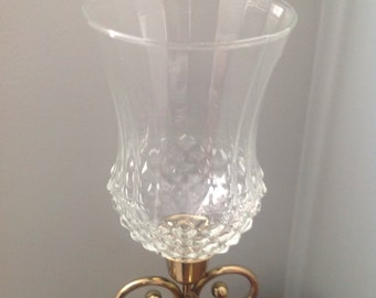 Tall clear crystal diamond cut votive, clear glass candleholder, diamond cut clear glass votive for sconce or candleholder