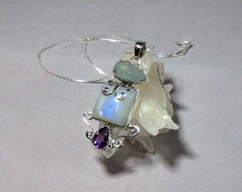 Rainbow moonstone necklace. Aquamarine necklace. Amethyst necklace. Pendant. Sterling silver. 925. Moonstone. Aquamarine. Gemstone. Jewelry