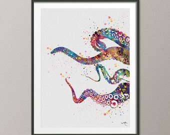 Octopus Tentacle Sea Life Watercolor Art Print Coastal Art Wall Art Poster Giclee Wall Decor Art Home Decor Wall Hanging [NO 599]