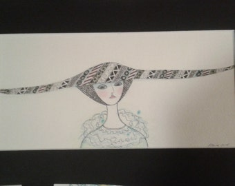 A pair of unique original drawings. Long Hat Portraits. Great gift.