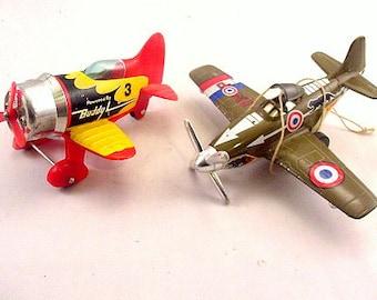 2 Vintage Buddy L Metal & Plastic Planes