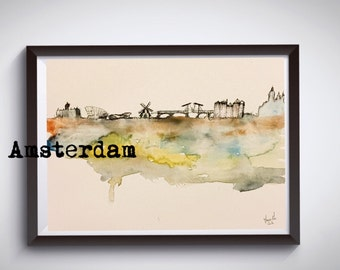 Amsterdam watercolor - art by uooops - not framed