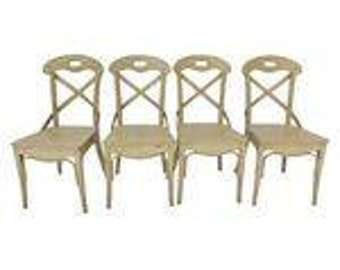 French Cottage Style Strap-Back Chairs (4) Distressed Look Contemporary