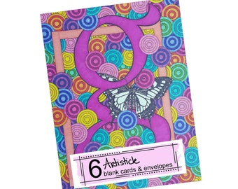 Butterfly Note Cards - Monogram G Cards - Butterfly Stationery - Set of Cards - Blank Cards - Thank You Cards - Alphabet Letter G