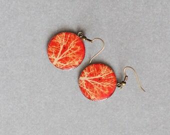 Tree Earrings FREE SHIPPING Round Earrings Unusual Earrings Mysterious Earrings Red Earrings Resin Earrings Cabochon Earrings