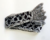 80s Accessories/ 1980's Fur Scarf Grey And Dark Brown Rabbit Fur Scarf Soft Warm Winter Scarf Stylish Scarf