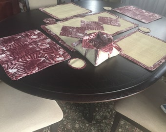 Set of 6 Handmade Raffia-Wax Placemats, Table Runner and Bread Basket