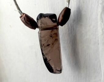 Mens smoky quartz pendent with two copper beads on a hemp cord, smoky quartz necklace, mens brown quartz crystal necklace, smoky crystal