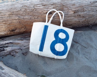 Recycled Sail Bag with #18 + Pockets