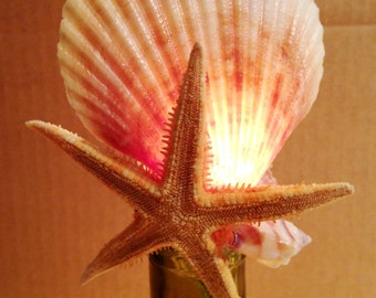 Lighted Bottle Lamp with a Stunning Scallop and Starfish Topper Exclusive Design Home Decor from Crafts by the Sea.