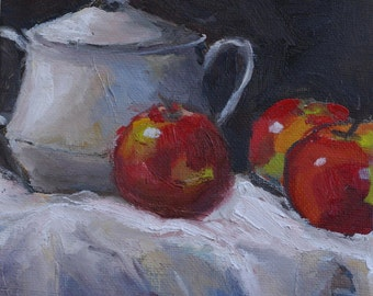 daily painting still life with apples