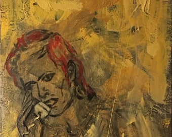 "Calling Bowie, Original Painting by Anne Winkler 24.5"" x 48"""