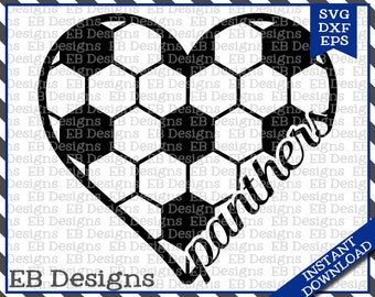 Panthers Soccer Love SVG DXF EPS Cutting Machine Files Silhouette Cameo Cricut Football Vinyl Cut File Soccer Vector svg file