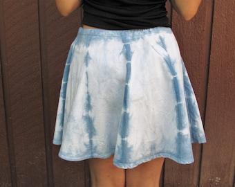 Naturally Tie-Dyed Circle Skirt w/Indigo