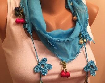 Tukish Oya Scarf,Turquoise Crochet Edge Scarf,Womens Fashion, Gift,Traditional ,Cotton Scarf With Bead and Crochet Flower Trims,Christmas Gi