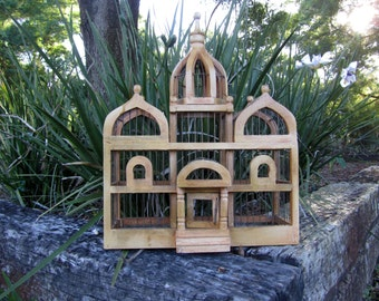 Large Wood Bird Cage / Vintage Wood Bird Cage / Wood Bird Cage / Decorative Bird Cage / Shabby Chic / Garden Decor