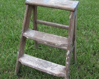 Vintage Rustic Wooden Step Ladder Folding Step Stool Primitive 3 Step Display Stand