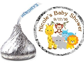216 ~ Jungle Safari Zoo Animals Baby Shower Favors Hershey Kiss Kisses stickers Labels ~ FREE SHIPPING
