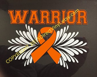 Orange Awareness Ribbon Warrior Window Decal (Kidney Cancer, Kidney Disease, Leukemia, Melanoma, Multiple Sclerosis, Skin Cancer)