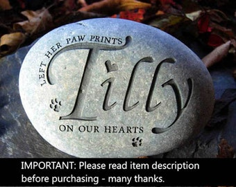 Pet memorial stone engraved and personalised pet, cat, dog memorial headstone for garden