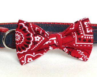 Denim on Red Dog Collar Bow Tie set, pet bow tie, collar bow tie, wedding bow tie