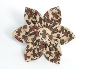 Christmas Gingerbread Flower for Dog collar, Cat collar