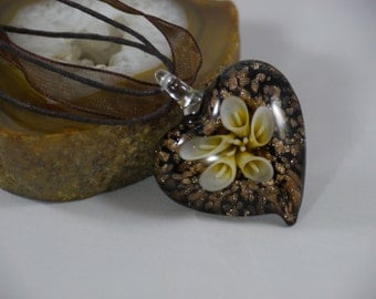 Heart Shaped Gold and Brown Murano Glass Calla Lily Pendant Necklace