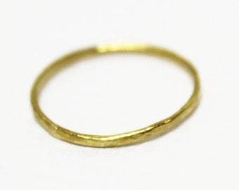 22k solid gold hammered texture thin pinky  ring