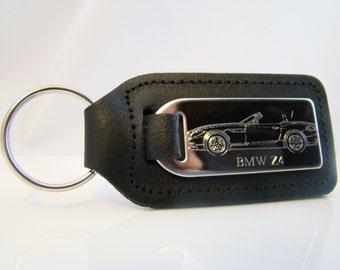 BMW Z4 Keyring, Engraved Z4 Car on Leather Keyring, Z4 Keychain, BMW Z4 Key Chain, BMW Key Fob, Gift Idea