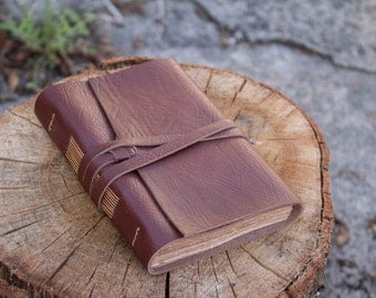 Medieval Leather Journal, Vintage Brown Leather, Aged Paper