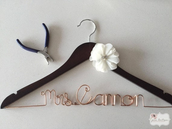 Mrs custom wedding dress hanger with ivory chiffon for Mrs hangers wedding dress