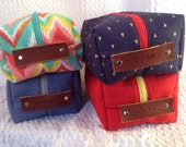 CUSTOM for AH: 4 Dopp Kitts in Red Hatch, Blue Herring Bone, Tagerine Ikat, and Blue with Gold Triangle