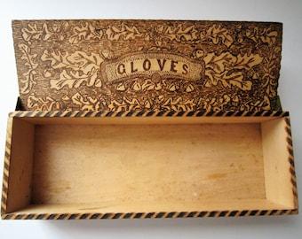 Vintage Pyrography Glove Box