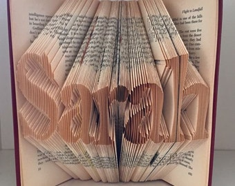 Any 5 letters, Folded book art- Unique folded book art custom made with a word of your choice- see item details section for more info.