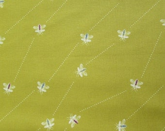 Wasps Lime - Wonderlust by Kokka Cotton Fabric Fat Quarter