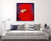 """Large Red Abstract Print, RedGiclee Print, Limited Edition Print """"The Warrior"""""""