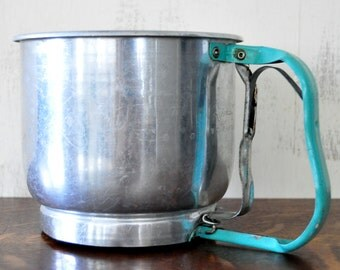 Vintage Foley Sifter with Turquoise Handle, Five Cup Flour Sifter