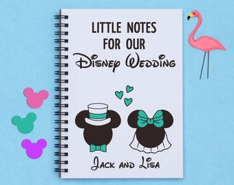 "Personalized, Little Notes for our Disney Wedding, disney wedding, wedding ideas, notes, to do lists, engagement, 5""x7"" Journal, notebook"
