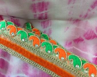 Orange & Green Designer Sari Border/Trim. Price Per Yard