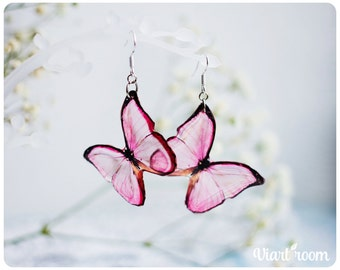 Transparent Earrings - Pink Batterfly - Nature Jewelry - Resin Jewelry - Resin Earrings - Boho Earrings